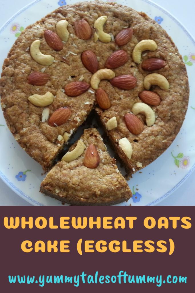 Wholewheat Oats Cake (eggless)