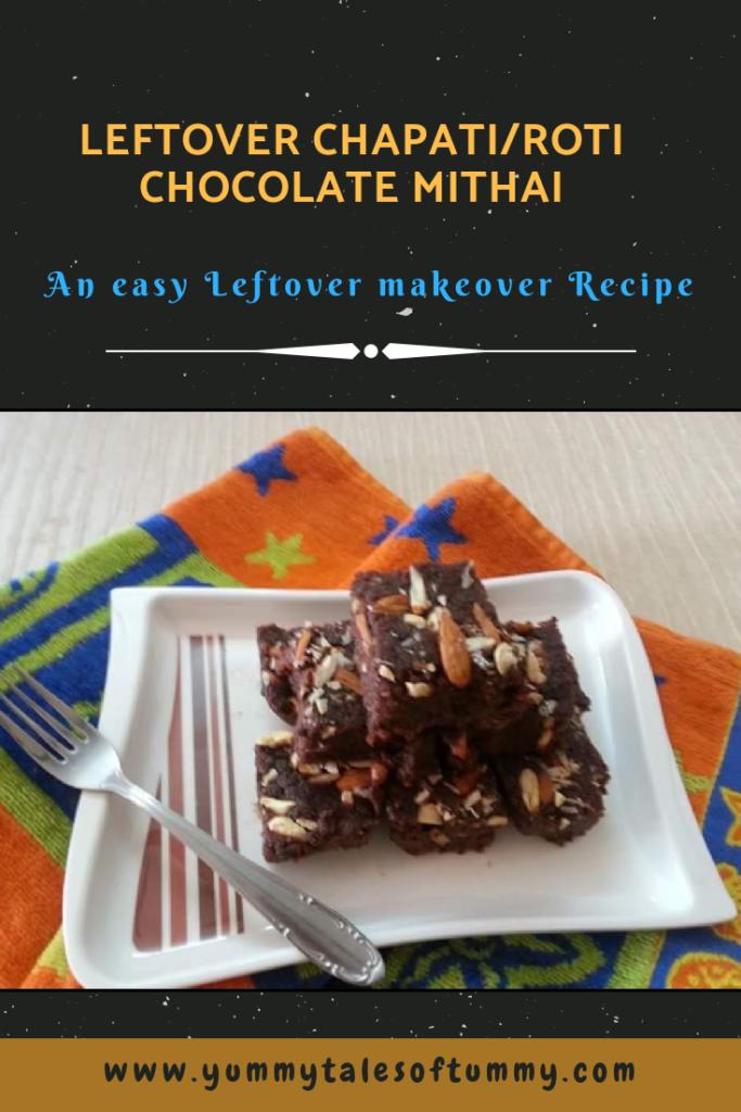 Leftover Chapati/Roti Chocolate Mithai