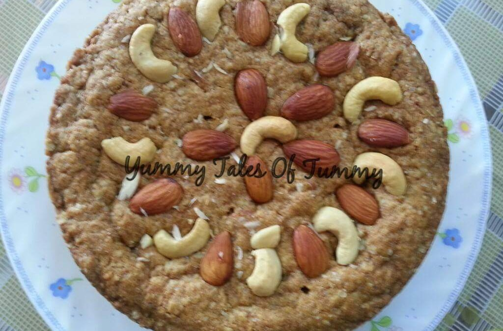 Whole Wheat Oats Cake (eggless)