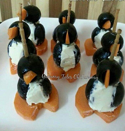 Creamcheese Penguins Appetizer