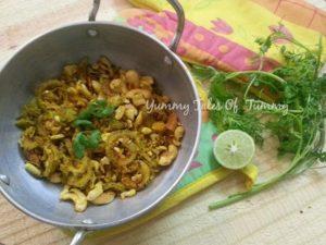 Kaju Karela no onion no garlic