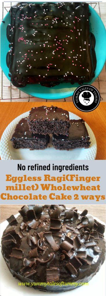 Eggless Ragi Wholewheat Chocolate Cake