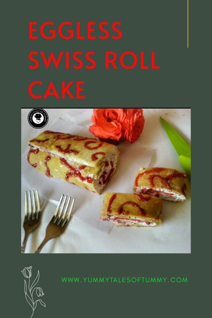 Swiss Roll Cake | Eggless swiss roll cake