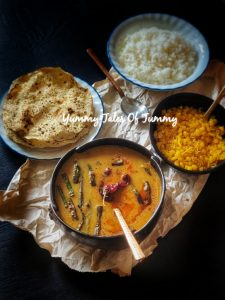 Sindhi Kadhi -Steamed Rice with Sweet Boondi & Sev
