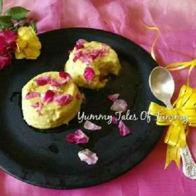 Yogurt mousse with Gulkand and rose petal honey