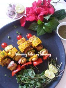 Vegetables and Paneer Tikka