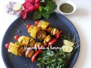 Paneer and Vegetable Tikka(without tandoor)