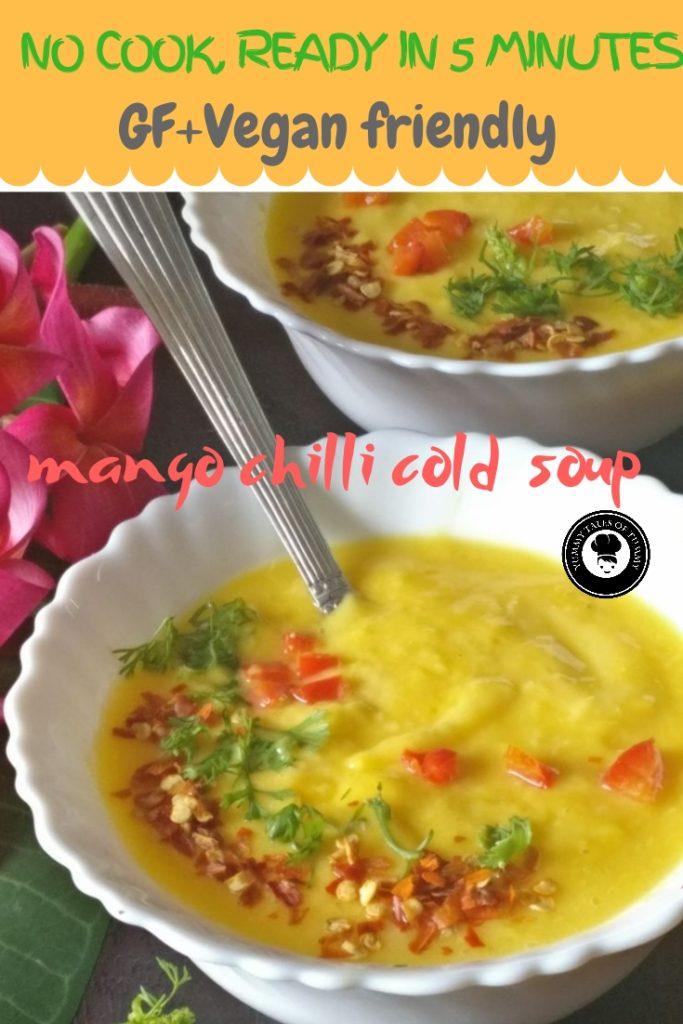 Mango chilli cold soup