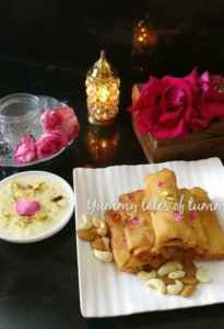 Gajar Halwa Spring Rolls served with Rabdi