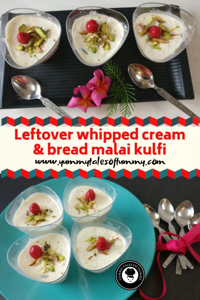 Leftover whipped cream and bread malai kulfi