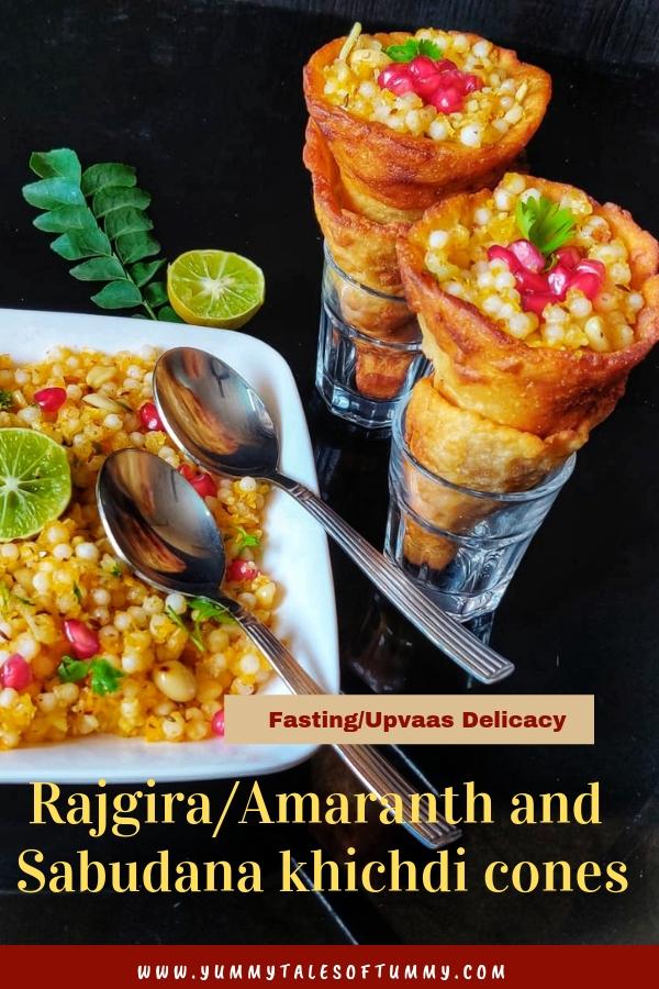 Rajgira/Amaranth and sabudana khichdi cones