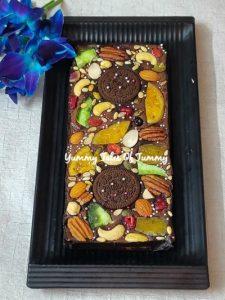 Homemade fruit and nut chocolate bar
