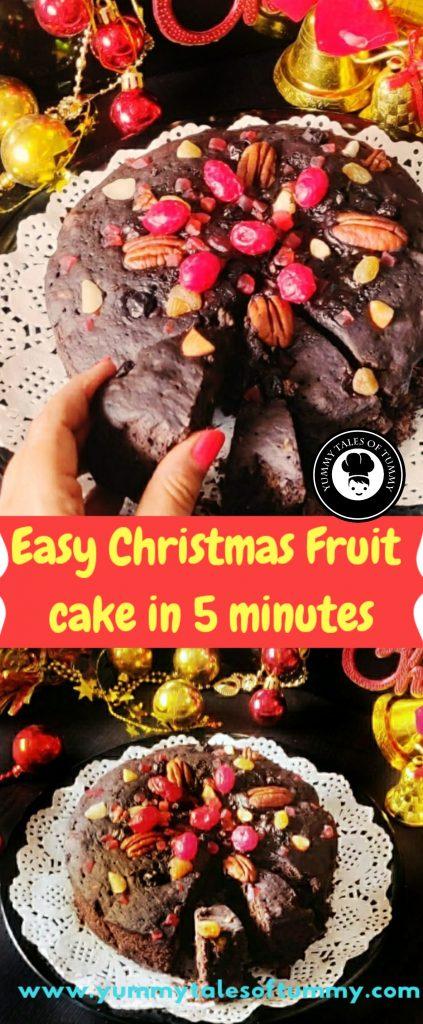 Easy 5 minute Christmas Fruit Cake