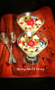 Fruit custard Recipe | Mixed fruit custard