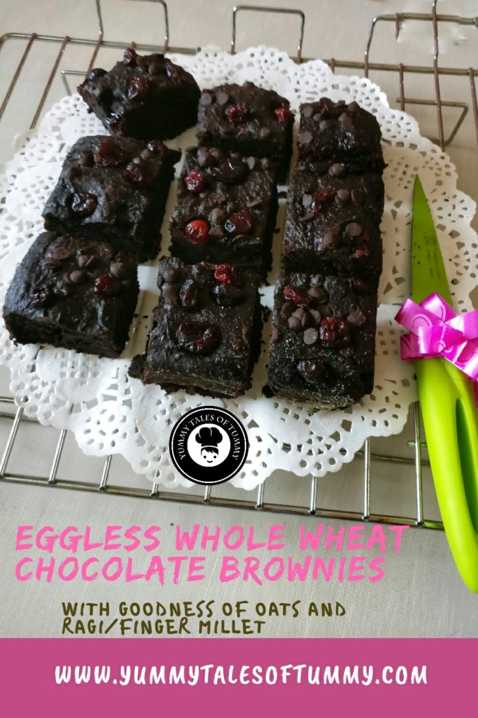 Eggless Whole wheat Chocolate Brownies