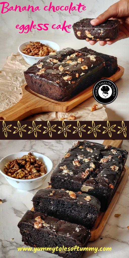 Banana chocolate eggless cake