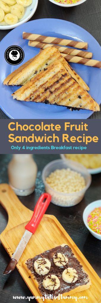 Chocolate fruit sandwich Recipe