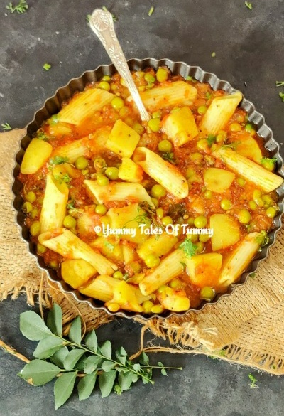 Alu matar Sabzi | Potatoes peas in Tomato gravy