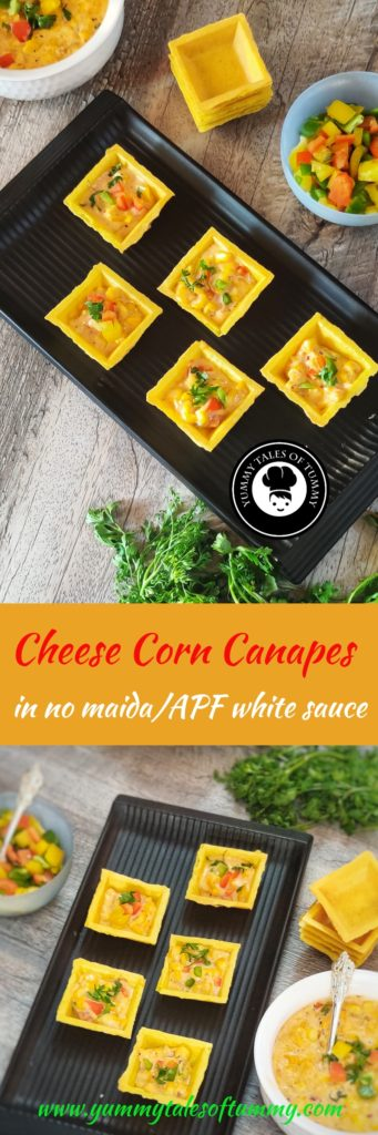 Cheese corn Canapés | White sauce vegetable Canapés