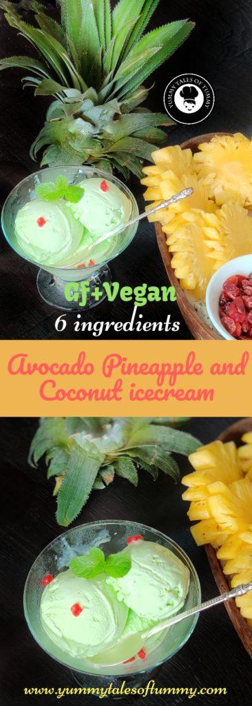 Avocado Pineapple and Coconut icecream