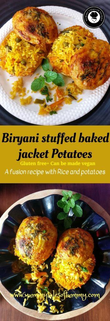 Biryani stuffed baked jacket potatoes