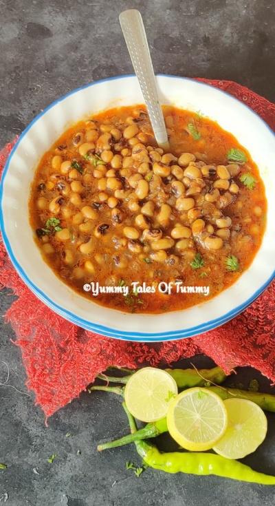 Lobia masala sabzi | Black eyed peas curry