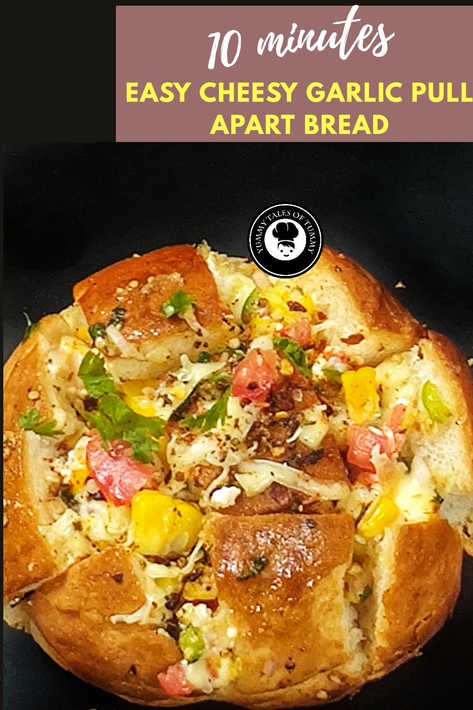 10 minutes easy cheesy garlic pull apart Bread