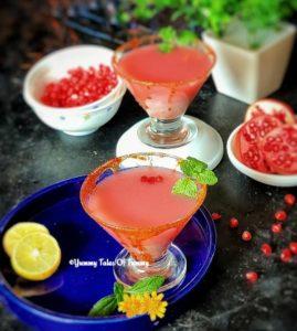 Pomegranate and Green tea Martini | Non alcoholic Martini