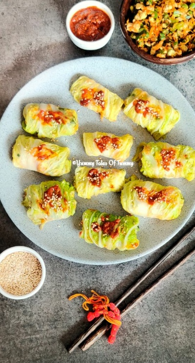 Chinese Steamed Cabbage Rolls (Vegetarian)