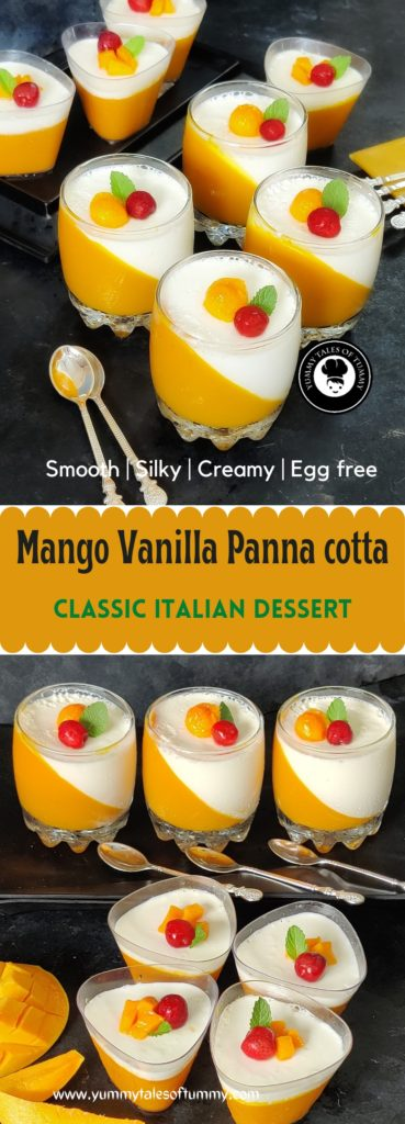 Mango Vanilla Panna cotta | Mango Pudding