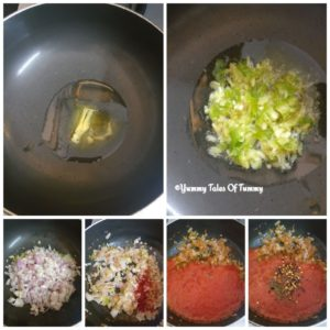Collage showing red sauce making pics