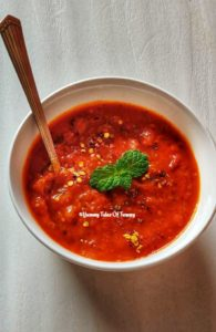 Pizza pasta sauce in white bowl to make Red sauce pasta
