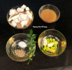 Ingredients used to make coconut chutney