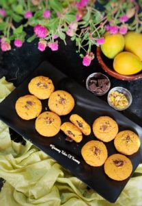 Mango cookies placed on black tray
