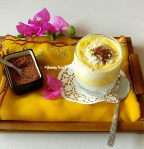 Jackfruit Sago Pudding | Jackfruit pudding served in glass placed on a tray