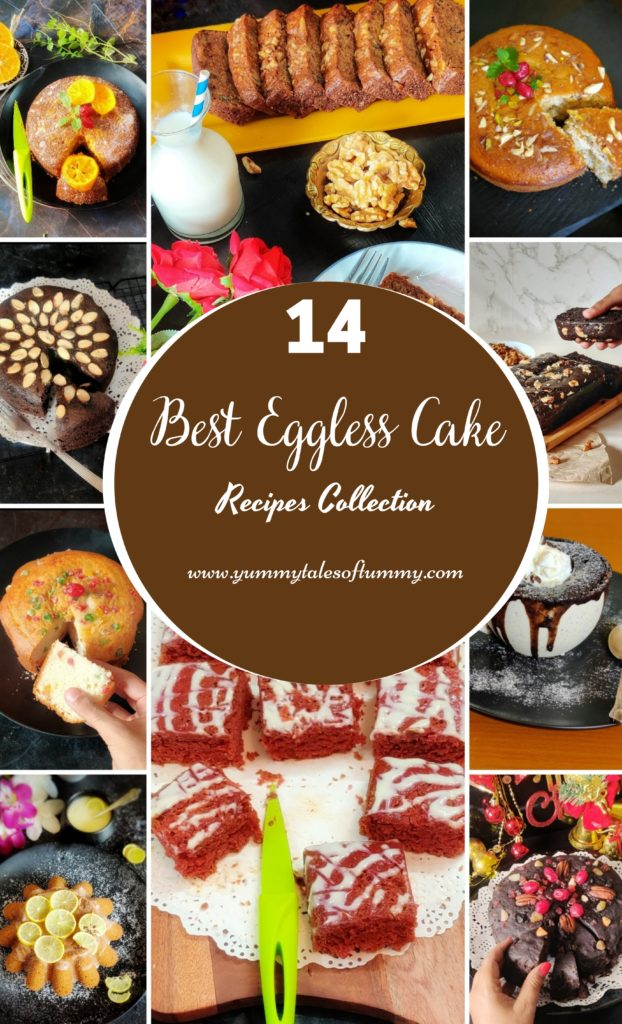 Collage showing 14 Best Eggless Cake Recipes