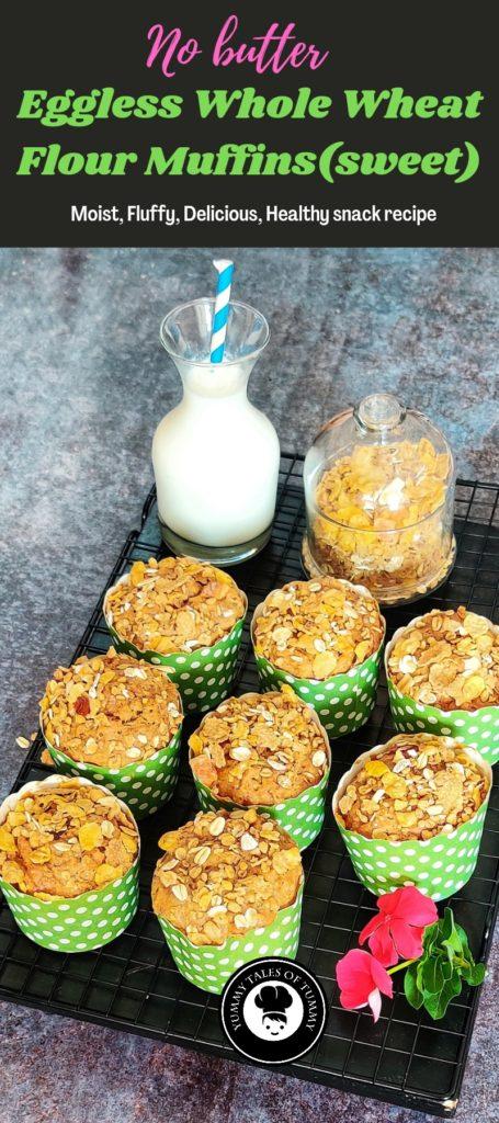 Eggless Whole Wheat Flour Muffins