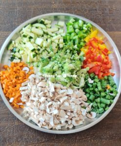 Chopped vegetables for How to make vegetarian shepherd's pie