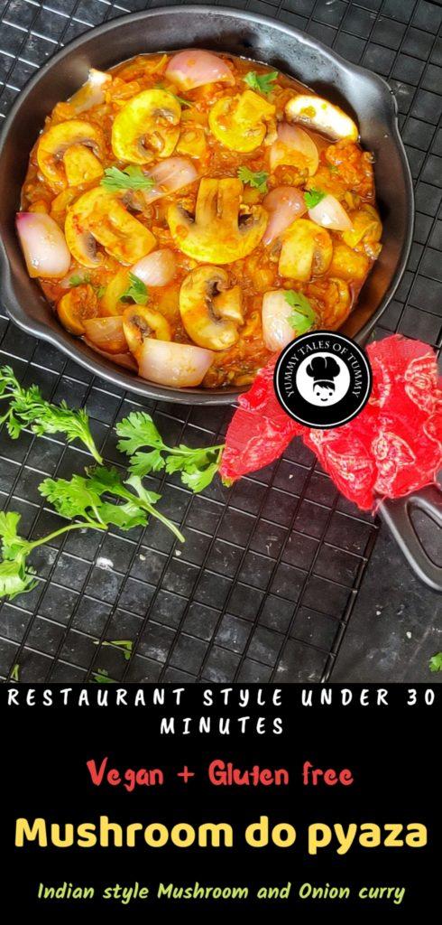 Mushroom Do Pyaza   Khumb Do Pyaza   Mushroom and Onions curry