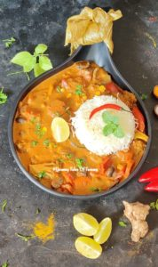Vegetarian Thai Red Curry served in black platter