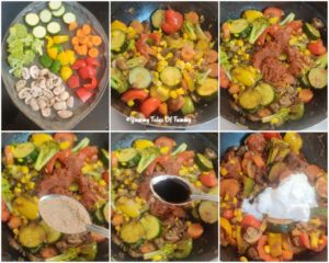 Collage showing prep pics for Thai curry
