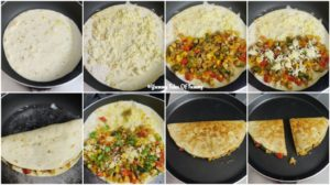 Collage showing prep pics to make Quesidillas