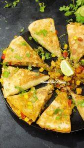 Side view of Easy Vegetable Quesadillas   Veggie Quesadillas